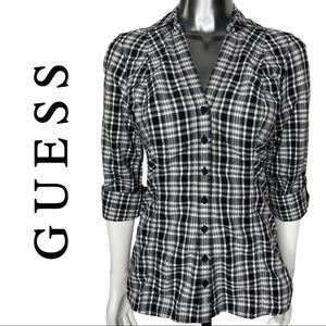 Guess Shirt Black White Plaid Fitted Button Front